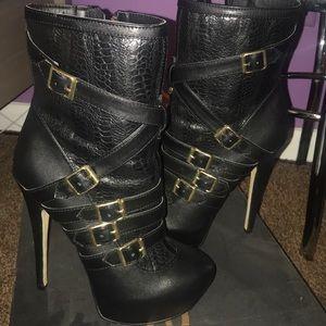 bebe boots booties black